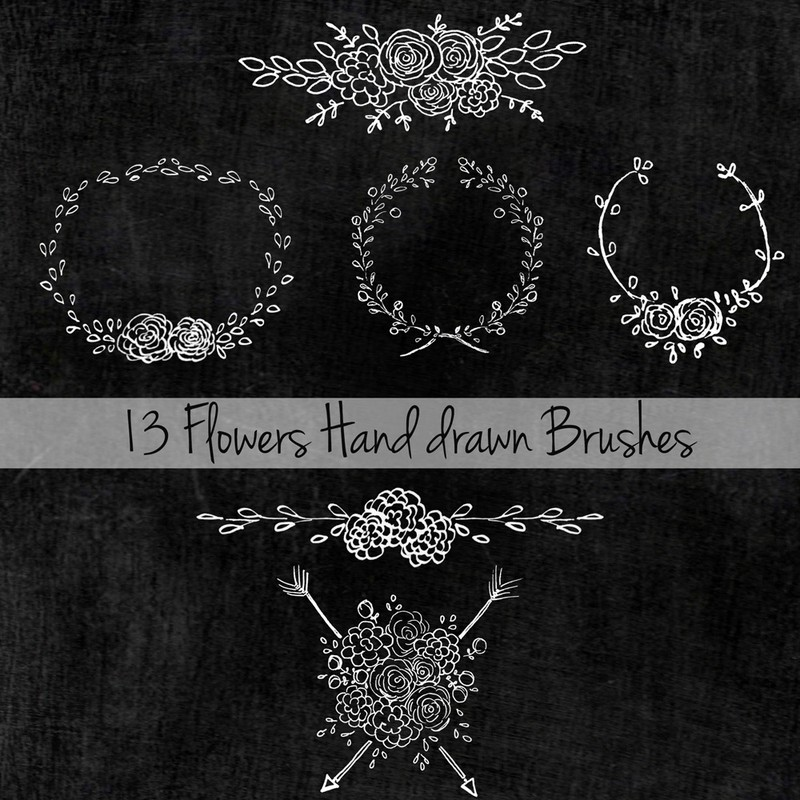 Photoshop brushes hand drawn, flowers