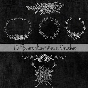 13 Flowers Hand Drawn Brushes