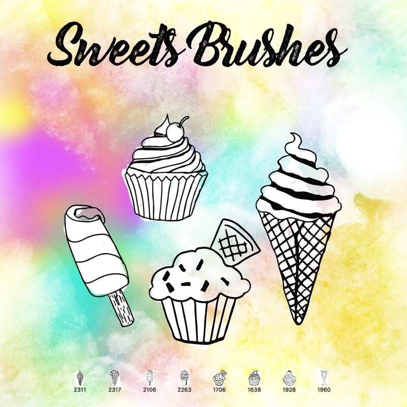 Photoshop brushes food, ice cream, muffins, sweets