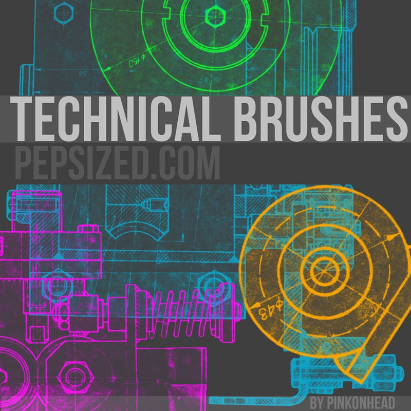 Photoshop brushes technical,drawings