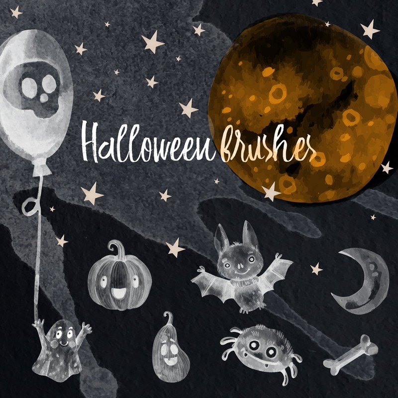 Photoshop brushes Halloween, icons, watercolor