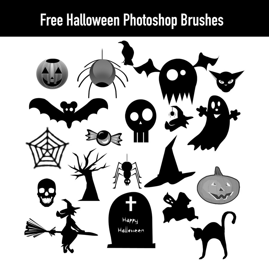 Photoshop brushes halloween silhouettes,
