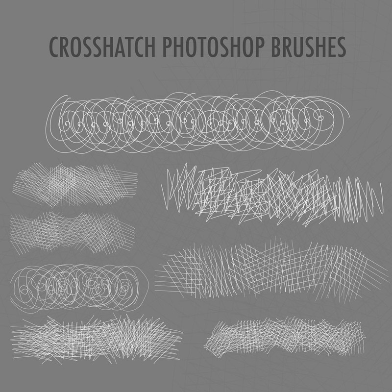 Photoshop brushes hand drawn, crosshatched, stroke