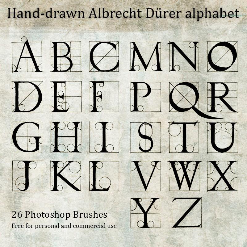 Photoshop brushes hand drawn, alphabet
