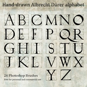 Hand Drawn Durer Alphabet