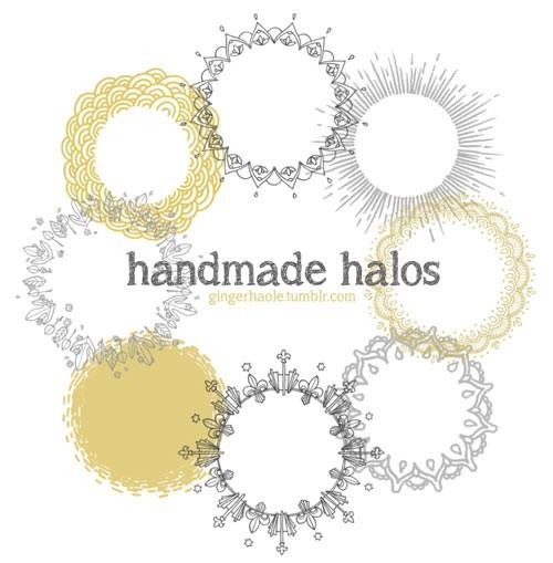 Photoshop brushes doodle, ornaments, frame, round