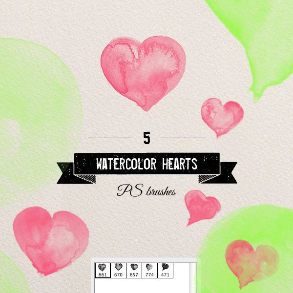 Photoshop brushes watercolor,heart
