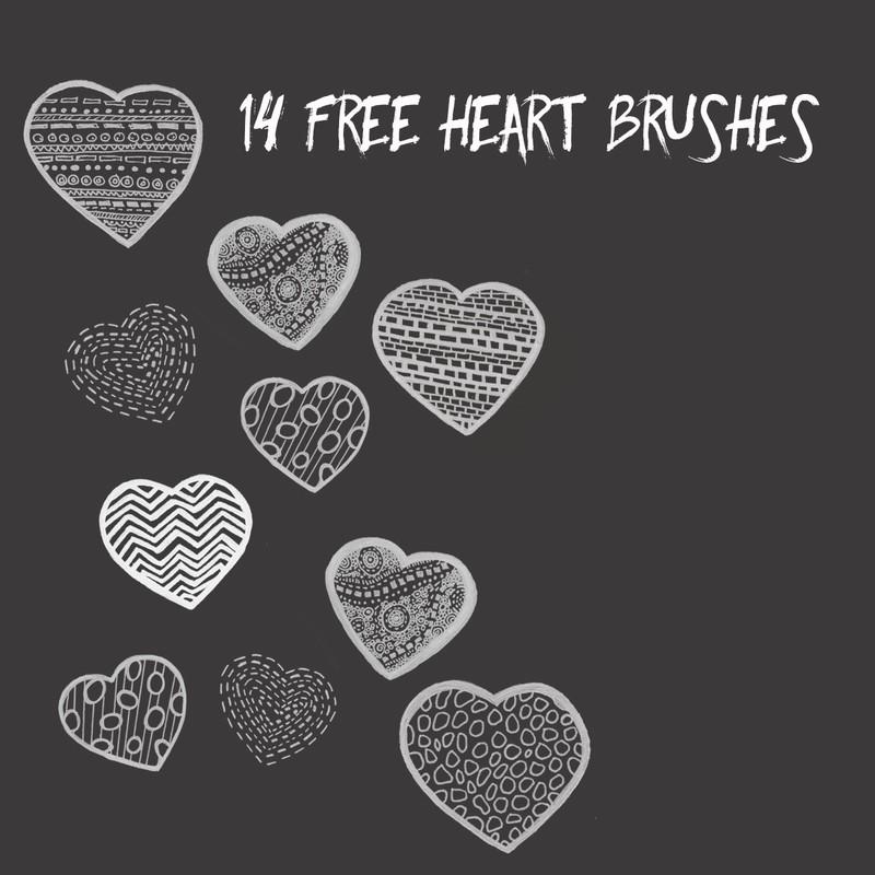 Photoshop brushes heart, love, symbol