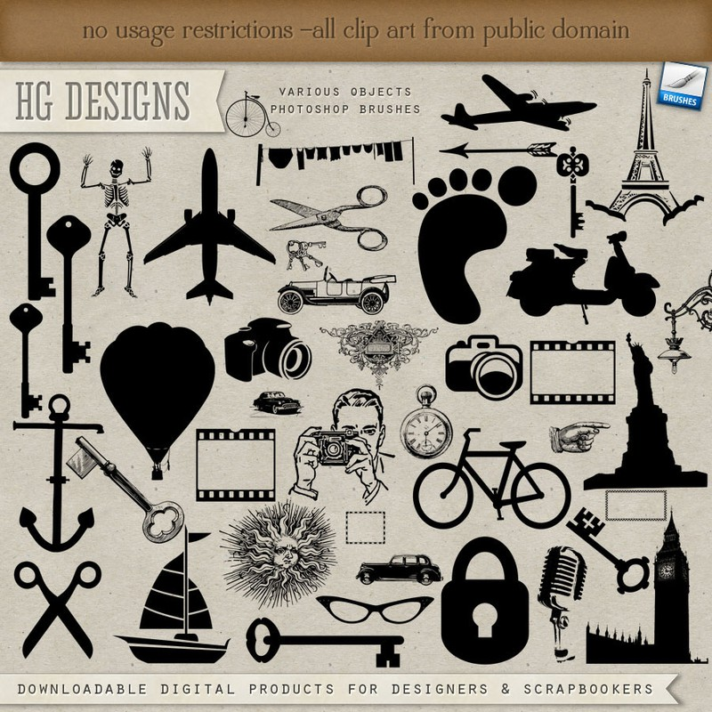 Photoshop brushes silhouettes objects