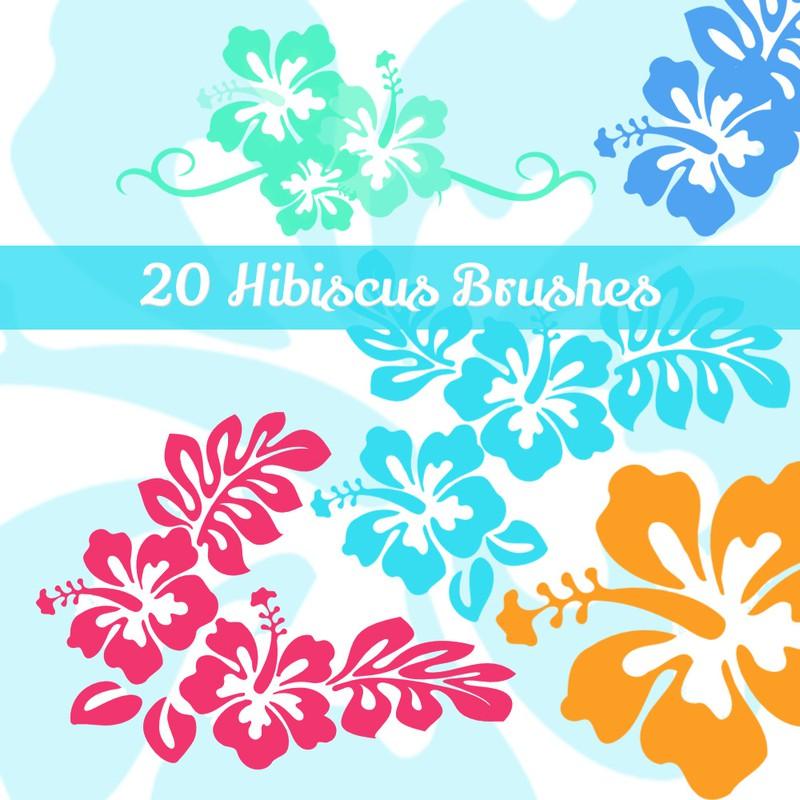 Photoshop brushes hibiscus, flowers