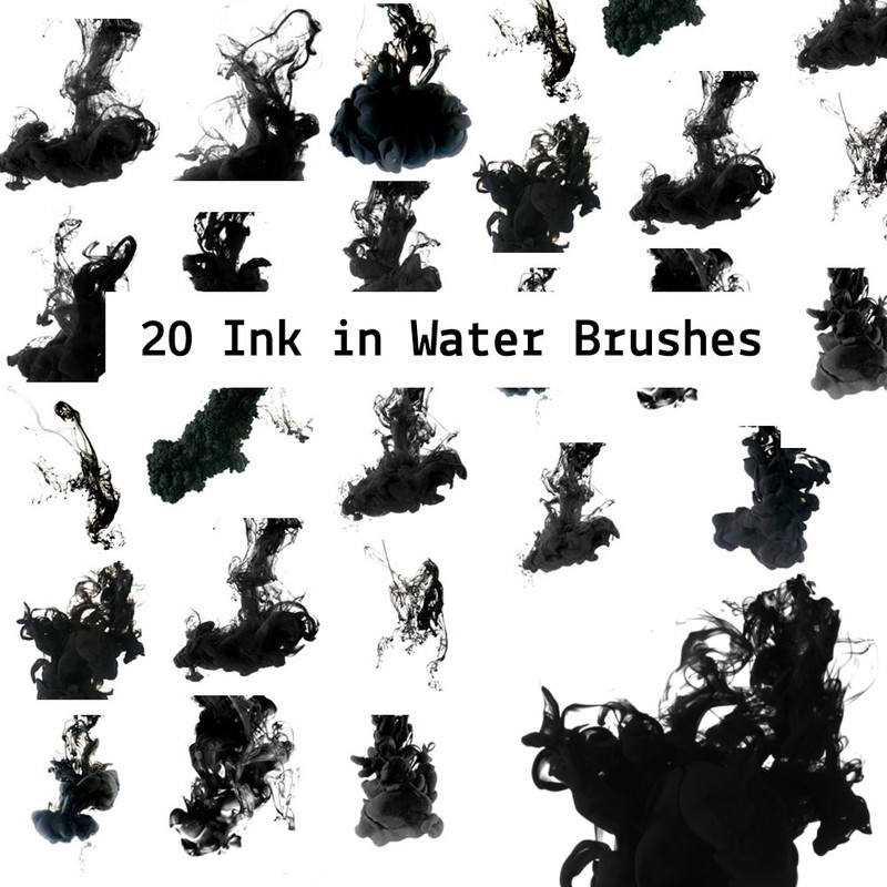 Photoshop brushes ink, water