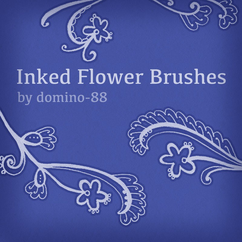 Photoshop brushes floral, doodle, inked