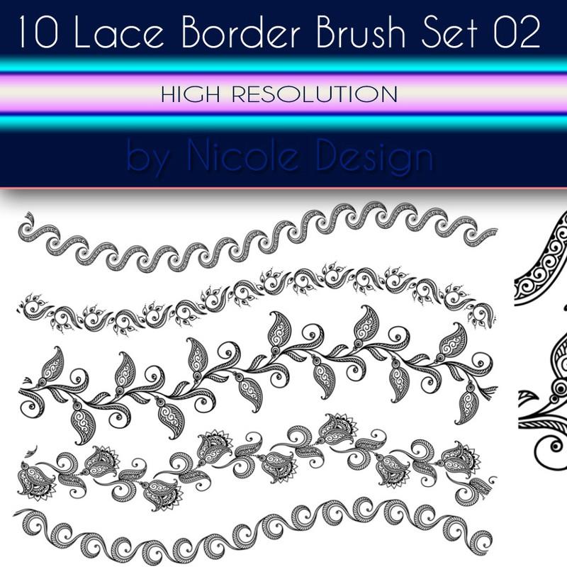 Photoshop brushes lace, decorative