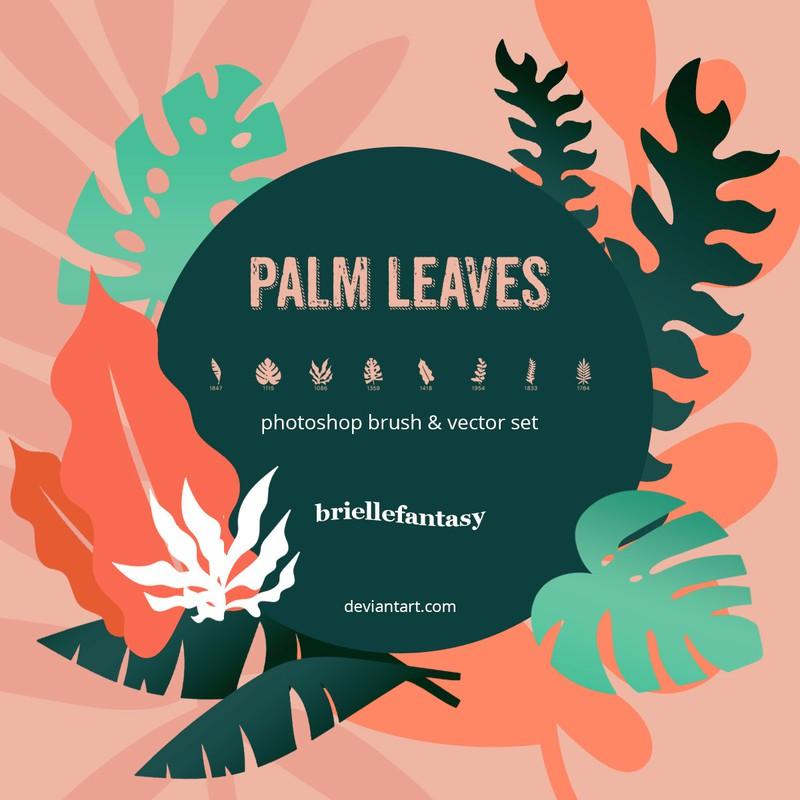 Photoshop brushes leaves, palm