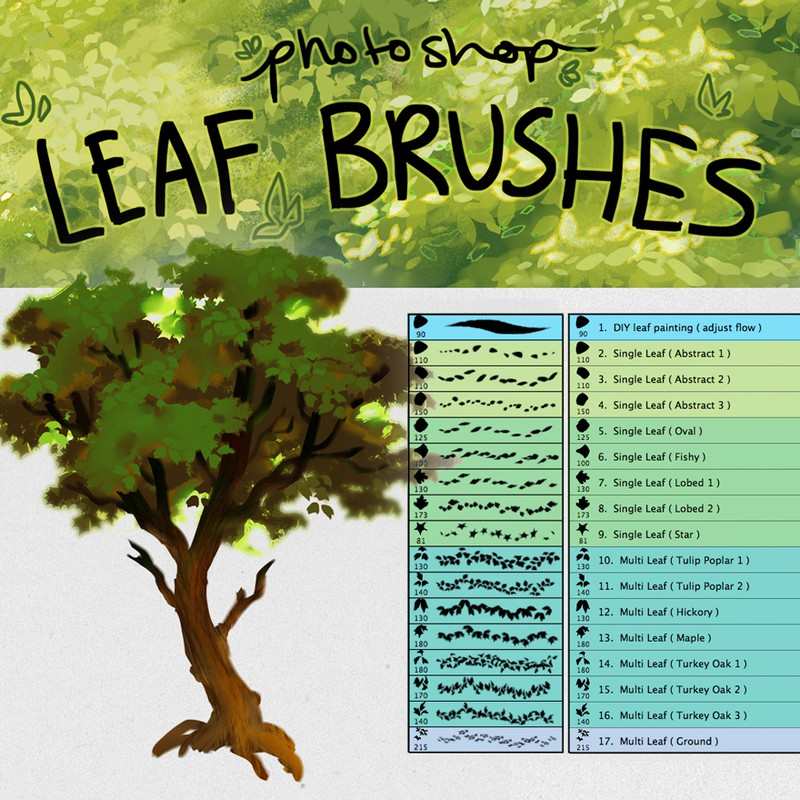 Photoshop brushes leaves, tree