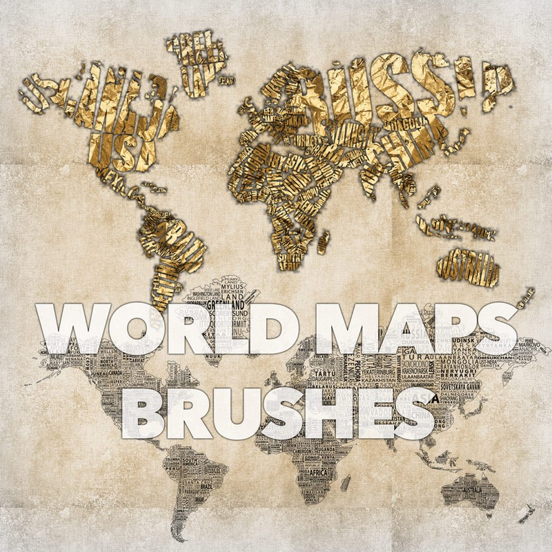 Photoshop brushes maps, world, art