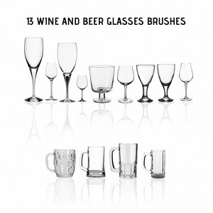 Wine Glasses and Beer Mugs PS Brushes