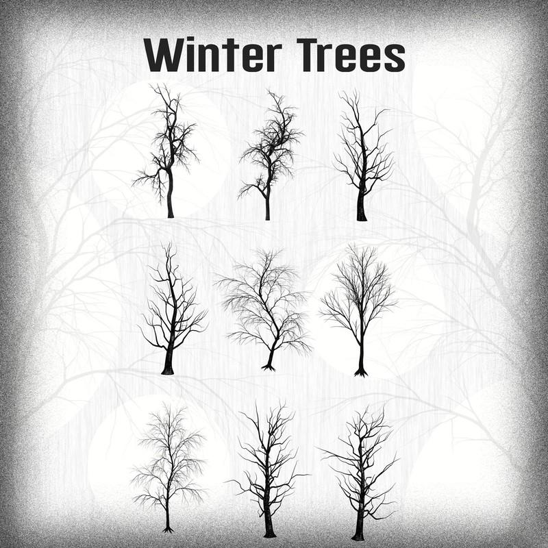 Photoshop brushes nature, tree, winter
