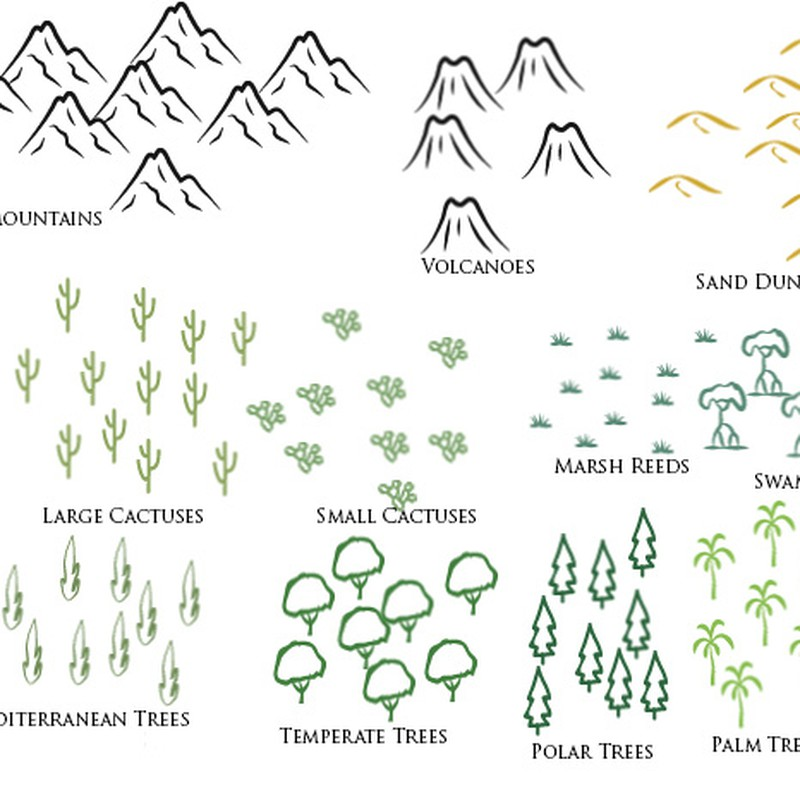 Photoshop brushes mountains, trees, cartography