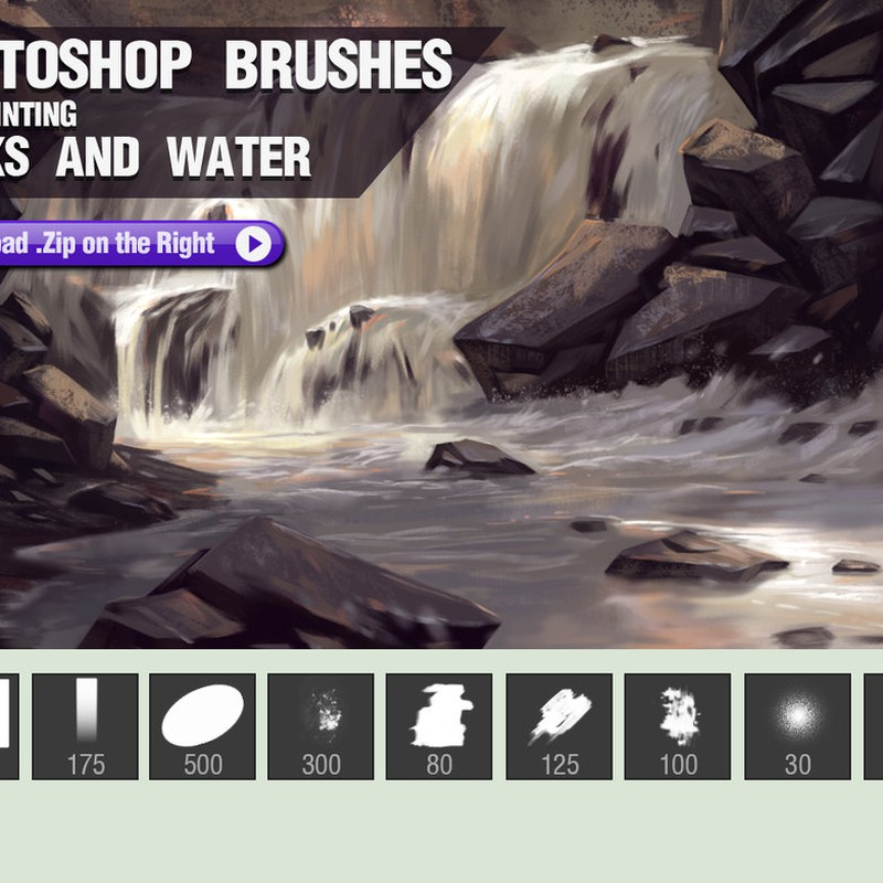 Photoshop brushes illustration, rocks, water