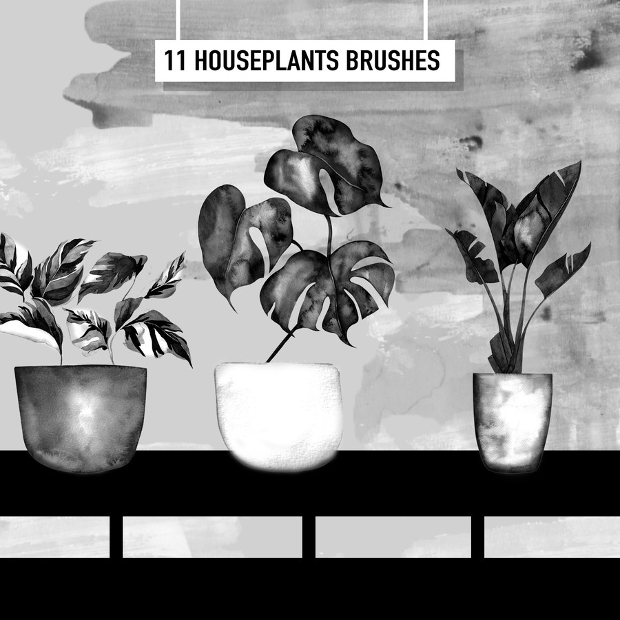 Photoshop brushes potted, plants, illustrations