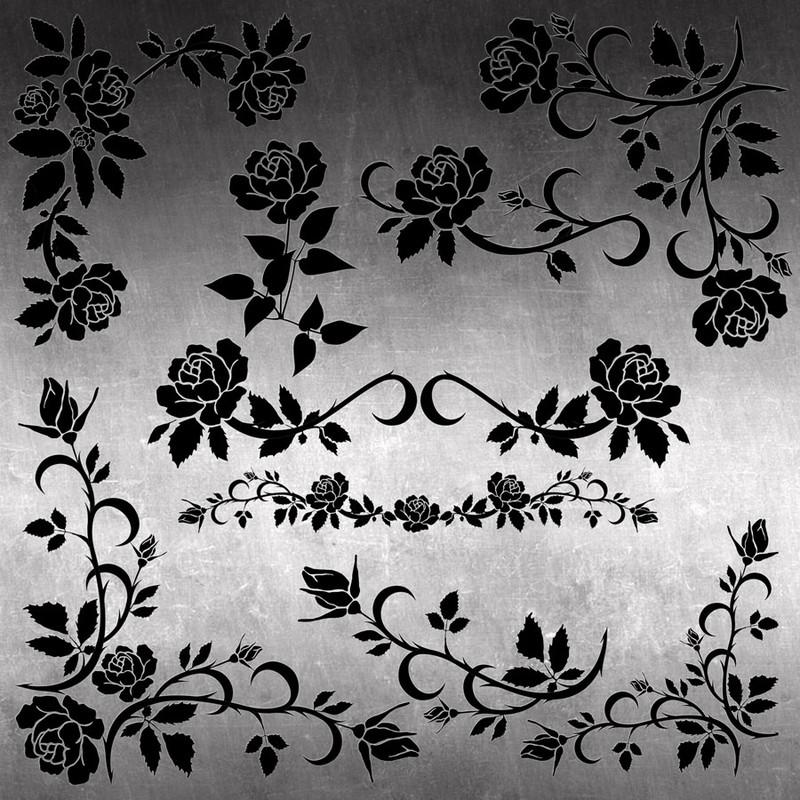 Photoshop brushes roses, corners, decorative