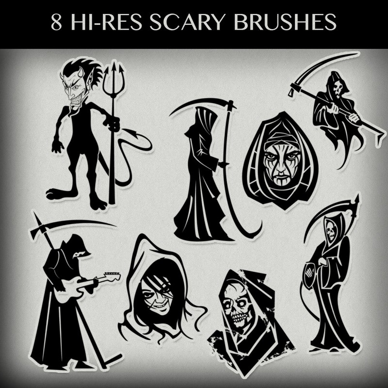 Photoshop brushes halloween, death, creatures