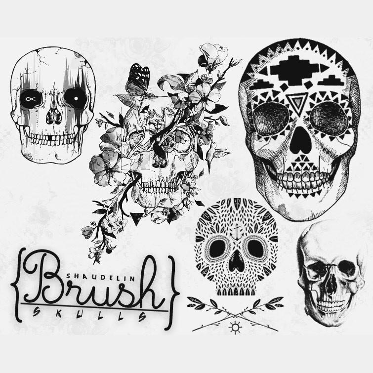 Photoshop brushes skulls, ornament