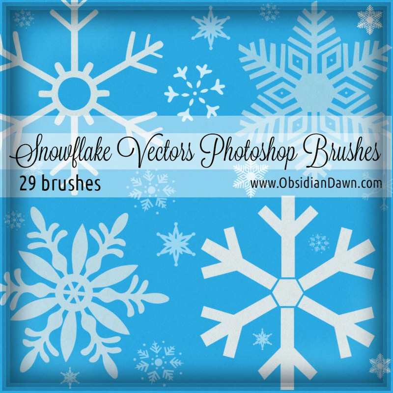 Photoshop brushes snowflakes, collection