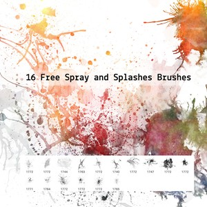 16 Free Spray and Splashes Brushes