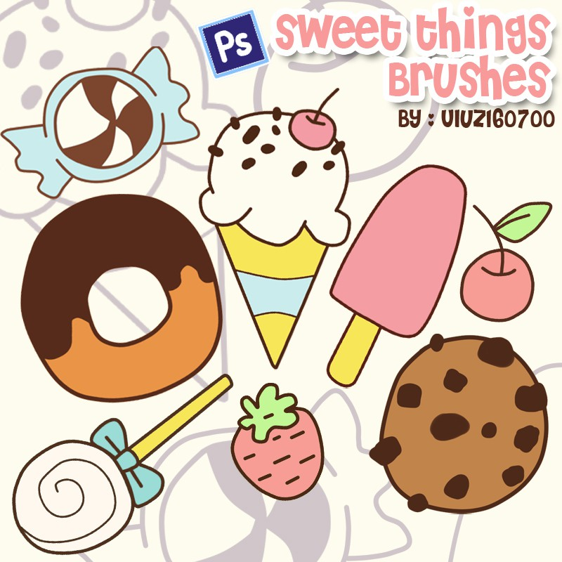 Photoshop brushes sweet, dessert, set