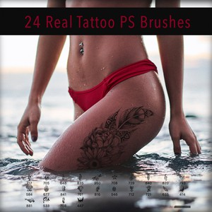 24 Real Tattoo PS Brushes