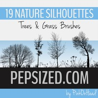 Nature Silhouettes Trees and Grass Brushes
