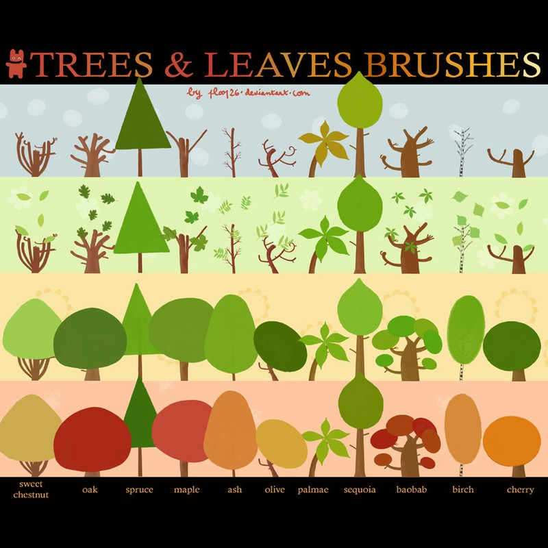Photoshop brushes trees watercolor