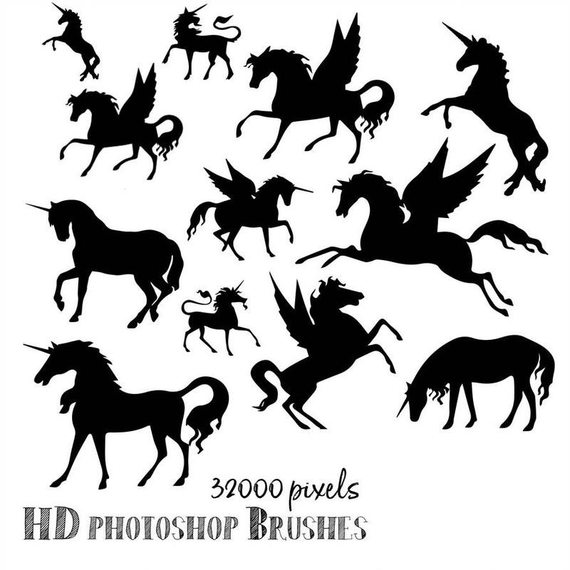 Photoshop brushes unicorn