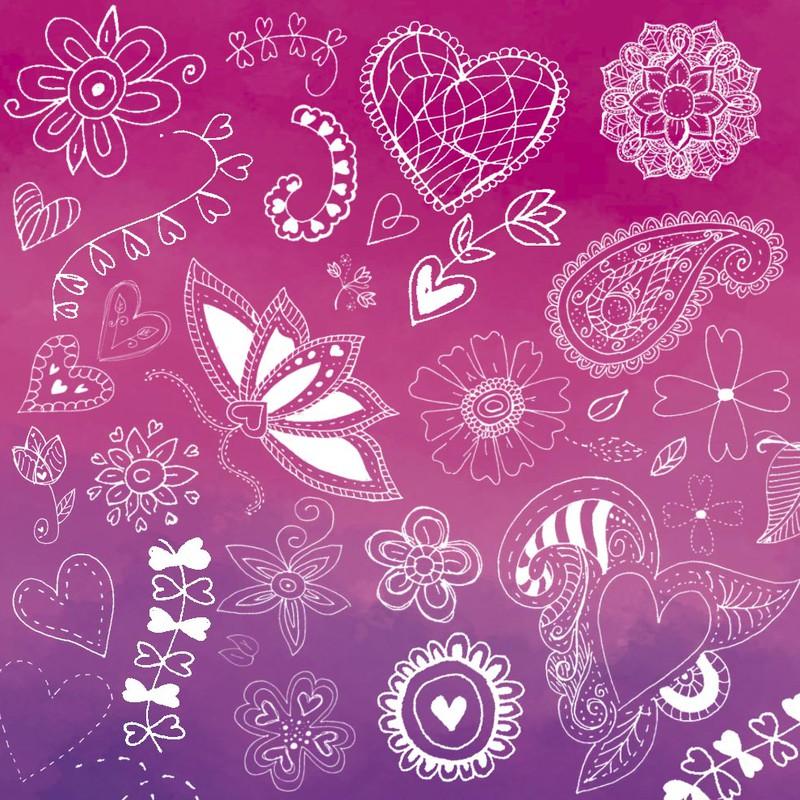 Photoshop brushes valentine, doodle
