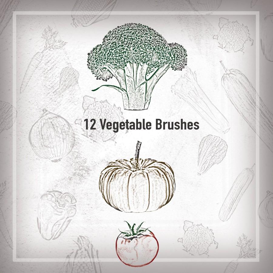 Photoshop brushes vegetables outline
