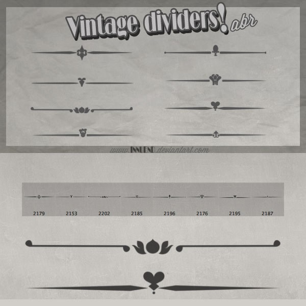 Photoshop brushes dividers, vintage