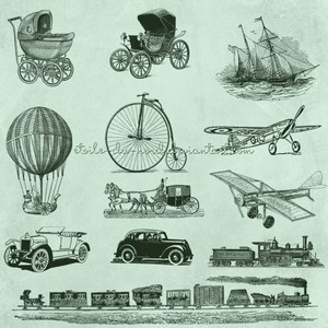 12 Vintage  Vehicles Brushes