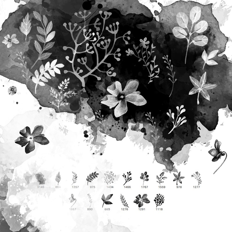 Photoshop brushes watercolor, plant