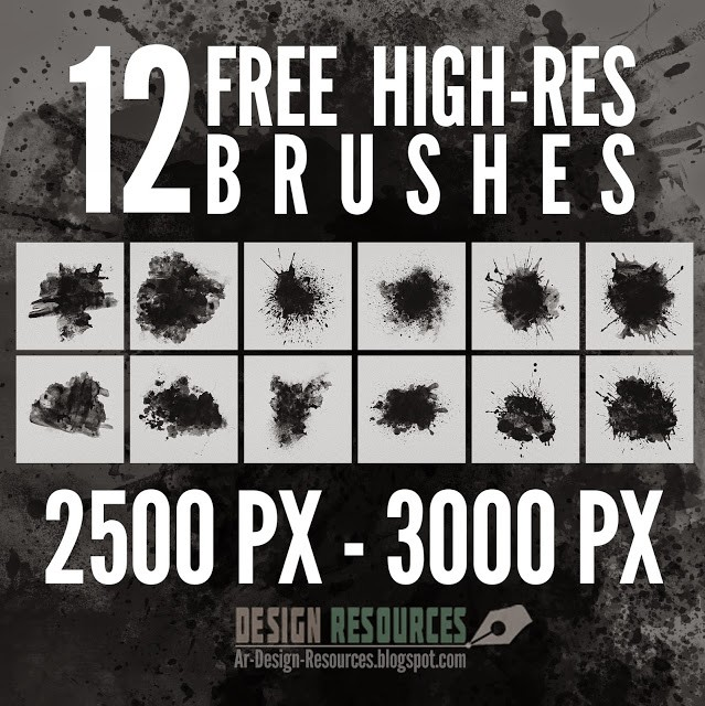 Photoshop brushes splatters, collection