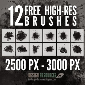 12 High-Res Splatter Photoshop Brushes