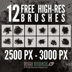 12 High-Res Splatter Photoshop Brushes