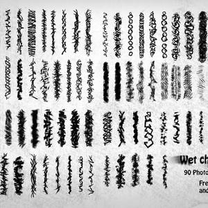 90 Wet Charcoal Photoshop Brushes