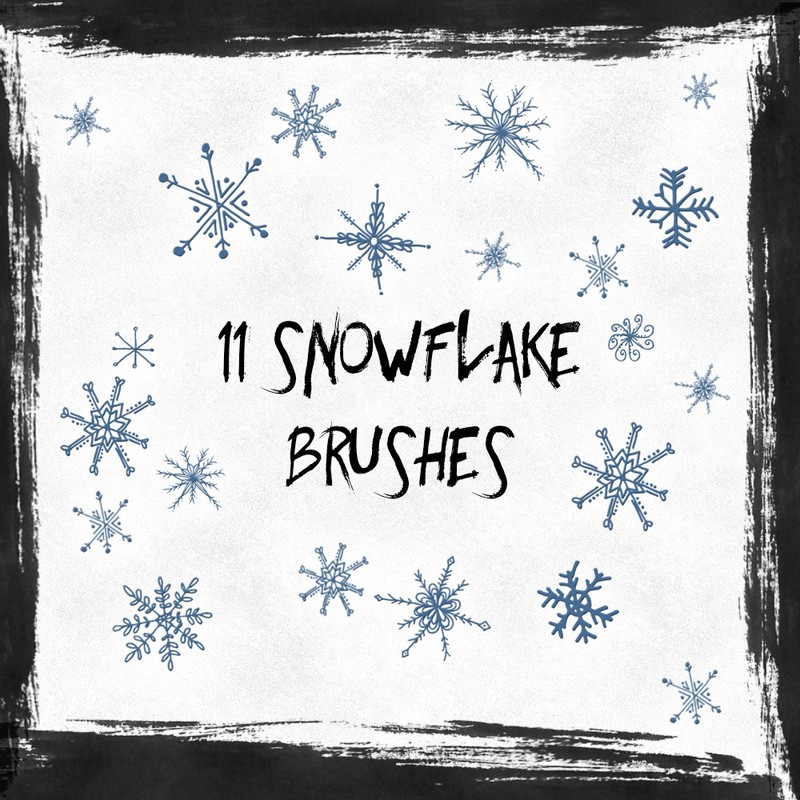 Photoshop brushes hand drawn, snowflakes