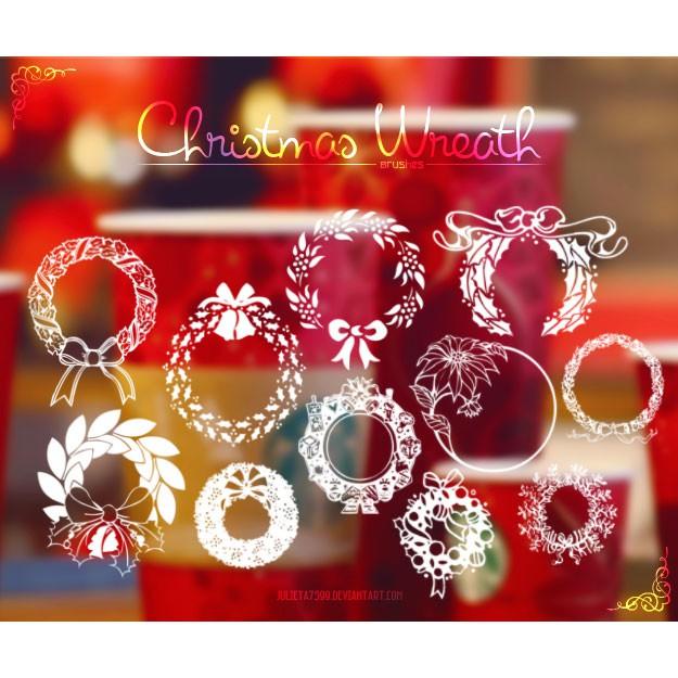 Photoshop brushes christmas wreath