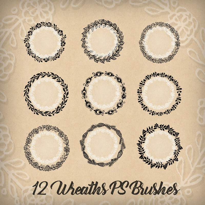 Photoshop brushes wreaths, leaves, flowers