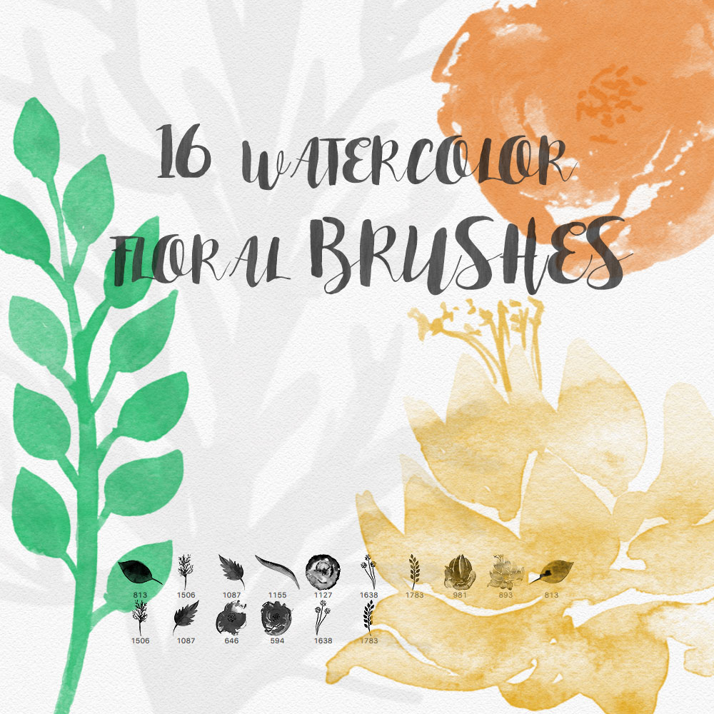 watercolor floral brushes photoshop brushes