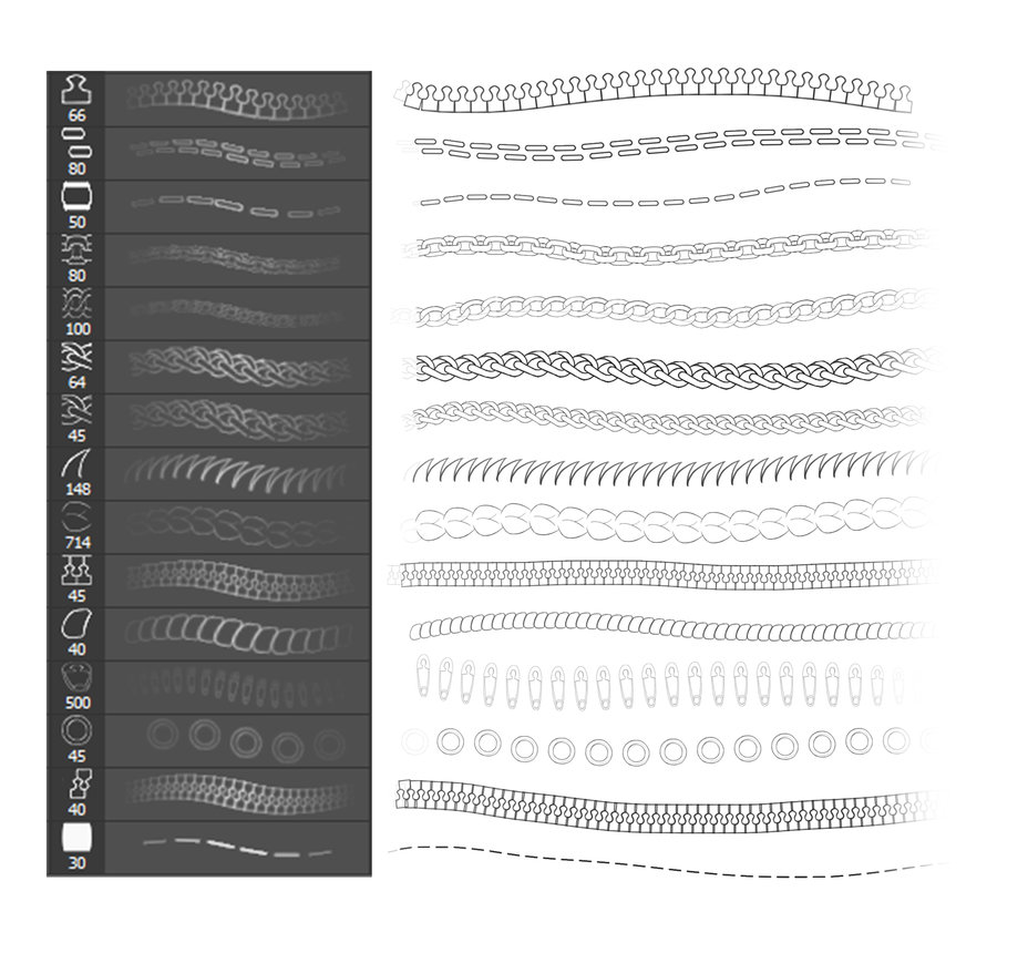 Chain, Stick, Zipper and more Brushes - Photoshop brushes