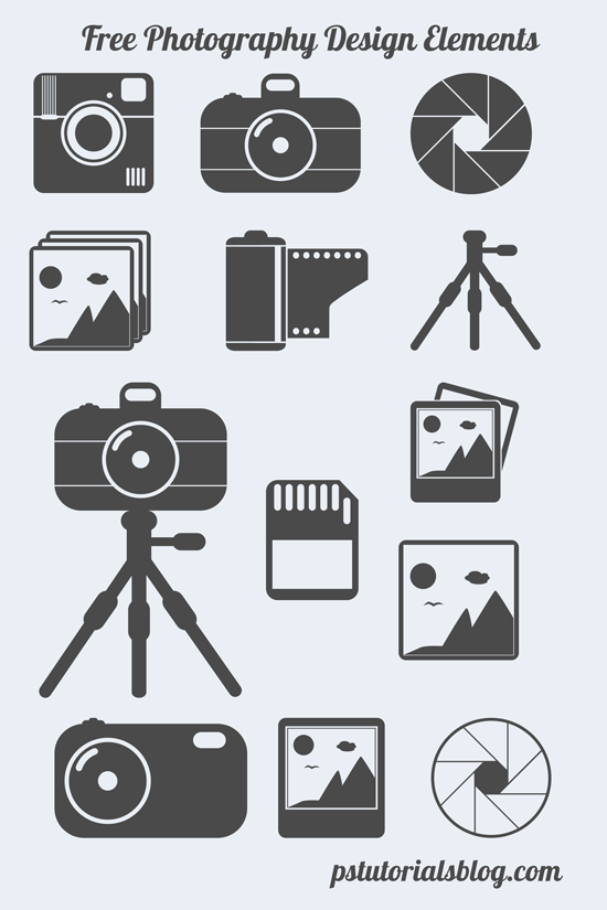 Photography Themed Shapes Camera Tripod Memory Card Photoshop
